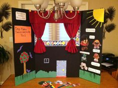 DIY No Sew Puppet Theater and More Streamer Fun! | Beacon Villages  - Could cover with black felt and change the story by creating felt scenery