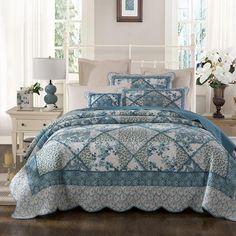 Tache 2-3 Piece Petal Dance 100% Cotton Floral Blue Quilt Bedspread Set - Tache Home Fashion