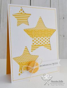 handmade card … negative space stars … strips of yellow patterned washi tape… handgemachte Karte … negative Weltraumsterne … Streifen aus gelb gemustertem Washi Tape … sauberes und helles Design … luv it ! Tarjetas Stampin Up, Stampin Up Cards, Handmade Greetings, Greeting Cards Handmade, Kids Cards, Baby Cards, Washi Tape Cards, Karten Diy, Star Cards