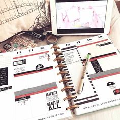 #REGRAM from mambi Design Team member @sadieinspired // We love this black, white, and red layout Jen worked on while still in bed watching some crafting videos. ❤️ #TheHappyPlanner by @meandmybigideas