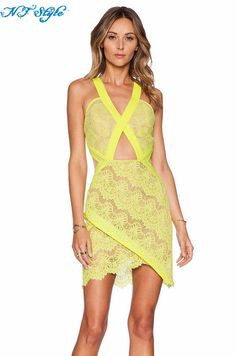 Aliexpress.com   Buy Sexy Short Yellow Color Tiered Sleeveless V Neck  Spanish Lace Free Patterns Famous High Quality Ladies Western Bandage  Dresses from ... 6b23cf0f77f2