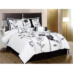 #4: Chezmoi Collection 7-Piece White, Grey, and Black Lily with Leaf Applique Comforter 90-Inch by 92-Inch Set, Bed-in-a-bag Queen Size Bedding.