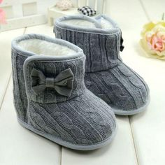Baby Girl Knit Bowknot Faux Fleece Snow Boot Soft Sole Kids Warm Wool Baby Shoes 3-18M