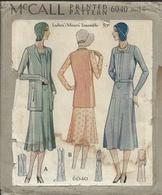 Vintage McCalls 1930's Ladies Dress Ensemble Sewing Pattern Size 16 | eBay