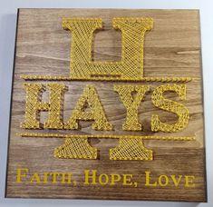 Faith, Hope, Love with Last Name String Art, Names