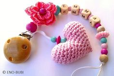 Schnullerkette mit Herz und Blume gehäkelt rosa
