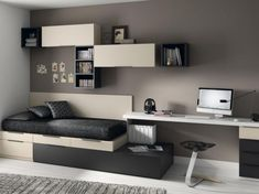 Muebles modernos para dormitorios juveniles donde podrás encontrar el dormitorio idóneo donde tus hijos podrán estudiar por el día y descansar por la noche.