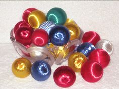 Vintage 1960s LARGE Satin Thread Christmas Ball Bell Ornaments ...
