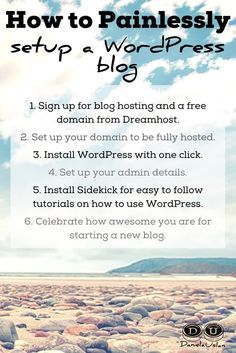 If you're going to be a serious blogger, a self-hosted Wordpress blog is the way to go. Here's a 4 step, painless process for setting it up.