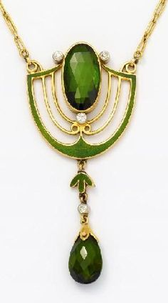 "Jugendstil. Pendant necklace with tourmaline Email stocking Gold, silver, green enamel. 9.8 g. 1 oval faceted tourmaline D.ca. 15.55 x 8,40mm, 1 tourmaline drops D.ca. 10.45 x 7,60mm, 4 old cut diamonds, L. 39,0cm. ~ To 1900's. Result € 2,375 324. Auction ""Decorative Arts"", Lot 19, 23/10/2013 VAN HAM"