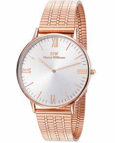 Από τον οίκο HARRY WILLIAMS ένα μοντέρνο ρολόι με ασημί καντράν Vintage Rose Gold, Vintage Roses, Stainless Steel Bracelet, Daniel Wellington, Gold Watch, Casio, Bracelets, Watches, Accessories