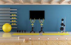 These Strength-Training Accessories Will Help You Reach Your Fitness Goals At Home Gym, Own Home, Yoga Studio Design, Balkon Design, Basketball Workouts, Strength Training Workouts, Blue Rooms, Cool Lighting, No Equipment Workout