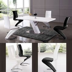 Zoro Gloss Dining Table With Chrome Base And 6 Z Chair