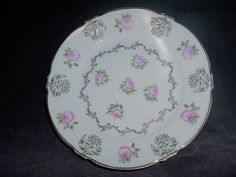 ZS& Co Bavaria Pink Roses Gold Accent Plate  #ZSCo