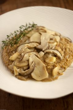 Wild Mushroom Polenta with Thyme Sprig
