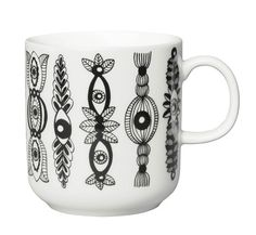 piilopaikka muki, 2013 [link to ceramics from arabia collection] Clay People, Marimekko, Plates And Bowls, Ceramic Painting, Mug Cup, Coffee Cups, Monochrome, Scandinavian, Glass Art
