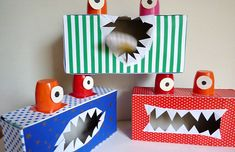 Tissue-box and yogurt cup monster craft (can use monsters for an eating game with ping-pong balls or other balls). jeu de monstres avec des balles from Nathan.fr