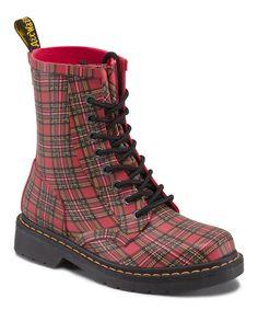 Love this Red Stewart Tartan Drench Leather Rain Boot by Dr. Martens on #zulily! #zulilyfinds