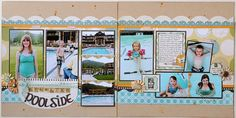 7 to 9 photos scrapbook layout - poolside