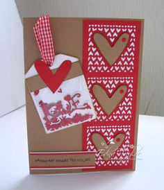 Another day, another card: From my heart to yours. (See Example file for How To). Tonic products - Patchwork Perfection Everyday Squares, Memento tag die, Love sentiment - Believe/Love frame die set Berry Red Crystal drops