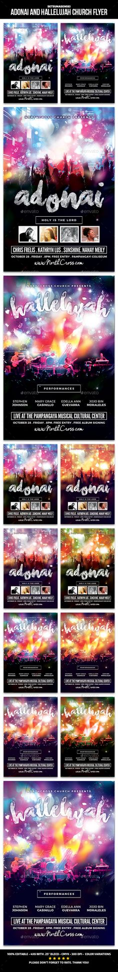 Adonai and Hallelujah Church Flyer — Photoshop PSD #praises and prayers #hallelujah • Available here → https://graphicriver.net/item/adonai-and-hallelujah-church-flyer/15518078?ref=pxcr