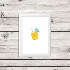 A chic pineapple drink art print created by Bonnie Bryant OConnor. Available in 8x10 or 5x7 prints. 80 lb. textured paper.  It takes 5-7 business days for your product to arrive once you place your order.