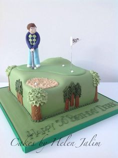 Model of a golfer on a course, Beautiful Cakes, Amazing Cakes, Tropical Cupcakes, 70th Birthday, Birthday Cakes, 50th Cake, Cake Pics, Cake Photos, Sport Cakes