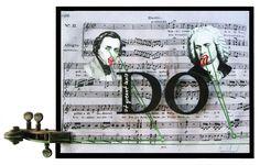 """DO (Ut queant laxis)  Collage y óleo sobre tabla intervenida con impresión digital y sección de Violín.  30x40  Obra de la serie """"7 notas"""" del proyecto SEPTIES SEPTEM. http://septiesseptem.blogspot.com.es/"""