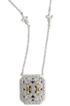 Diamond Detailed Chain Necklace Set in Silver & Yellow Gold Accents | Cirque Jewels