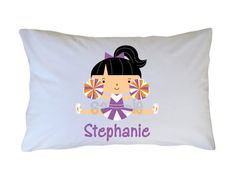 Cheerleader Pillow Case Kids Personalized Pillow by OneWhimsyChick