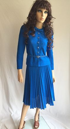 Vintage Blue 70's Suit  Retro Pleated Skirt by GypsysClosetVintage