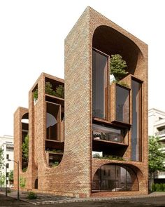 Residential Building Concept - designed by Mohammad Samiee ( Via Architecture Résidentielle, Futuristic Architecture, Beautiful Architecture, Contemporary Architecture, Biophilic Architecture, Cultural Architecture, Building Concept, Building Design, Facade Design