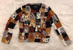 WOMENS dog puppy design CARDIGAN SWEATER JACKET By MICHAEL SIMON SMALL - ss16 #MichaelSimon #Cardigan