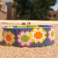Daisy Girl Bead Loom Bracelet Artisanal Jewelry by PuebloAndCo