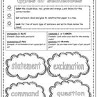 This is a sentence type graphic organizer. It's color coded to help primary students better grasp the concept of the four types of sentences: state. Grammar Sentences, Types Of Sentences, Sentence Types, 2nd Grade Ela, Second Grade, Guided Reading Lessons, Primary Classroom, Word Study, Construction Paper
