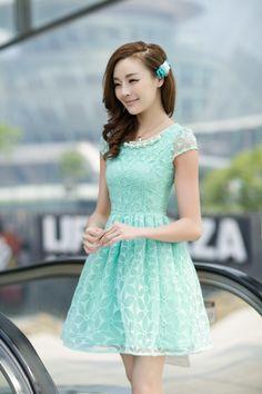 Vestido Types Of Dresses, Short Dresses, Girls Dresses, Korean Girl Fashion, Cute Fashion, Pretty Dresses, Beautiful Dresses, Teen Fashionista, Mint Green Bridesmaid Dresses