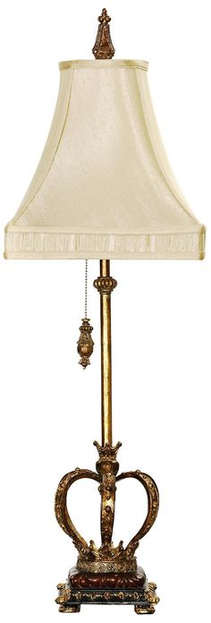This table lamp features a gold leaf finish crown base to add a regal element to any decor. Style # at Lamps Plus. Crown Decor, Leaf Table, Pull Chain, Gold Leaf, Chandelier, Table Lamp, Shades, Living Room, Lighting