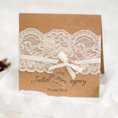 Faire part de mariage rustique avec pochette dentelle JM702 à partir de 1.70€ faire part de mariage pas cher, sur mesure - joyeuxmariage.fr