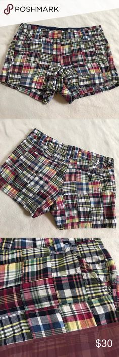 """J Crew Patchwork Plaid City Fit Shorts 11"""" length 3"""" inseam. Patchwork Plaid shorts. City fit style. Has front and back pockets. Excellent condition. Classic preppy style. Bundle 2+ items for a discount. J. Crew Shorts"""