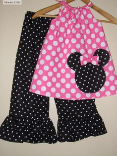 Minnie Mouse pink  polka dot swing top and ruffled by minnieschild, $32.95