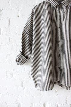 the essence of simple. — Ichi Antiquites Gather Linen Shirt Stripes |...