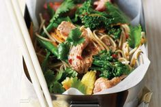 Colourful, healthy vegetables are the backdrop to the herb-crusted roast beef and noodles in this Asian-inspired salad.