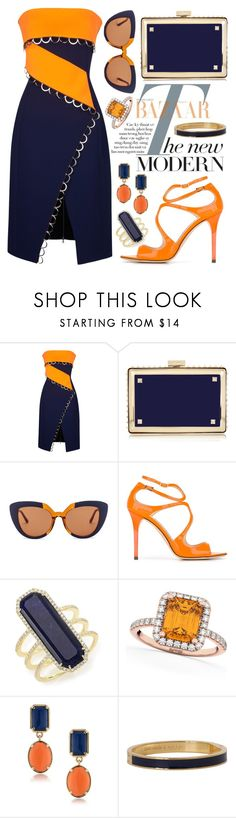 """""""Orange + Navy"""" by alyssawui ❤ liked on Polyvore featuring Thierry Mugler, Valentino, Marni, Jimmy Choo, Meira T, Allurez, 1st & Gorgeous by Carolee and Kate Spade"""