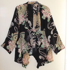 For those who appreciate the finest art-to-wear clothes. a fabulousCitron Santa Monica silk floral flowing jacket-blouse in size 1X. This came in with some very fine art-to-wear clothing. It is in mint condition with no flaws or faults. | eBay!