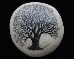 Hand-painted tree on beach stone by Studio320Decker on Etsy