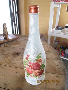Botella- craquelado, decoupage papel de arroz