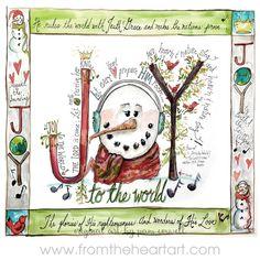 Christmas: Joy Snowman – From the Heart Art Christmas Goodies, Christmas Printables, Christmas Art, Christmas Holidays, Christmas Ornaments, Christmas Ideas, Christmas Things, Nativity Ornaments, Christmas Patterns