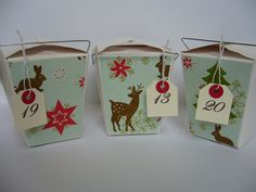 Okay if she won't sent the stuff to my country => DIY chinese take out boxes Advent calendar Christmas Paper, Winter Christmas, Christmas Holidays, Christmas Crafts, Xmas, Christmas Ornaments, Christmas Ideas, Vintage Graphic Design, Inspiration