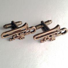 Men's New Bronze Metal Trombone Horn Band Music Instrument Cuff Links Cufflinks