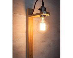 White glass Bottle wood wall sconce wood lamp White by EunaDesigns